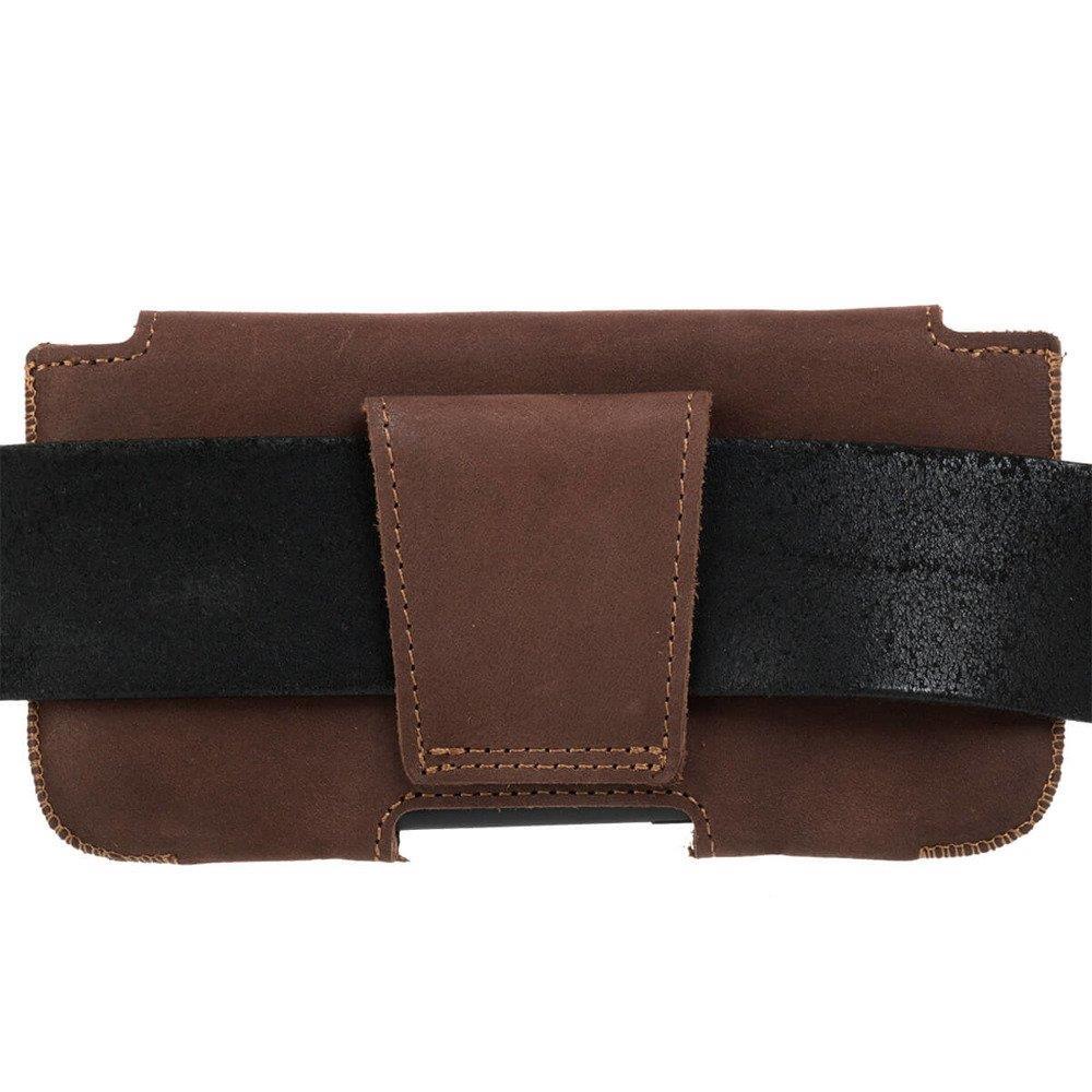 Belt case - Nubuck Nut brown - Bester Papa Gold