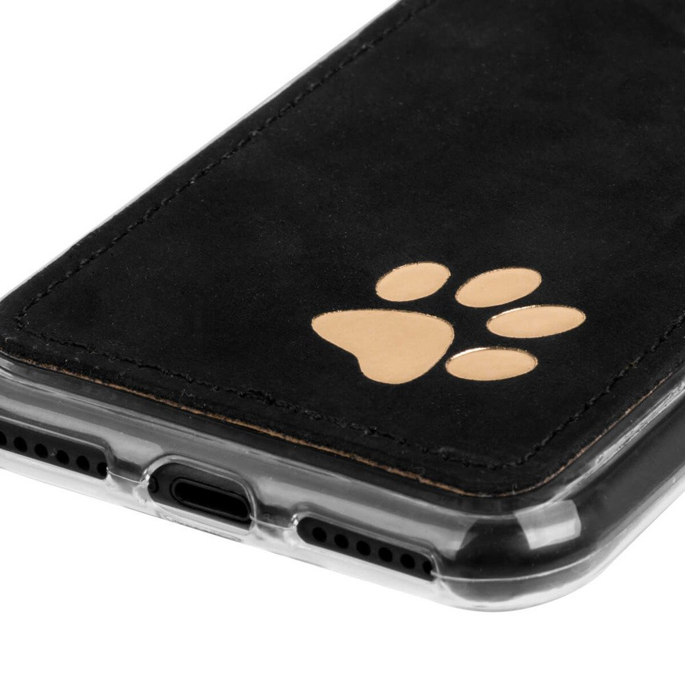 Surazo Back case phone case Nubuck - Black - Paw