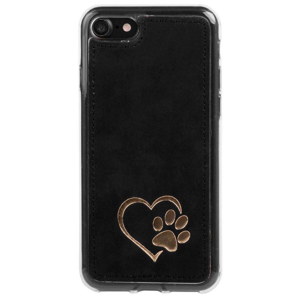 Surazo® Back case phone case Nubuck - Black - Heart with paw
