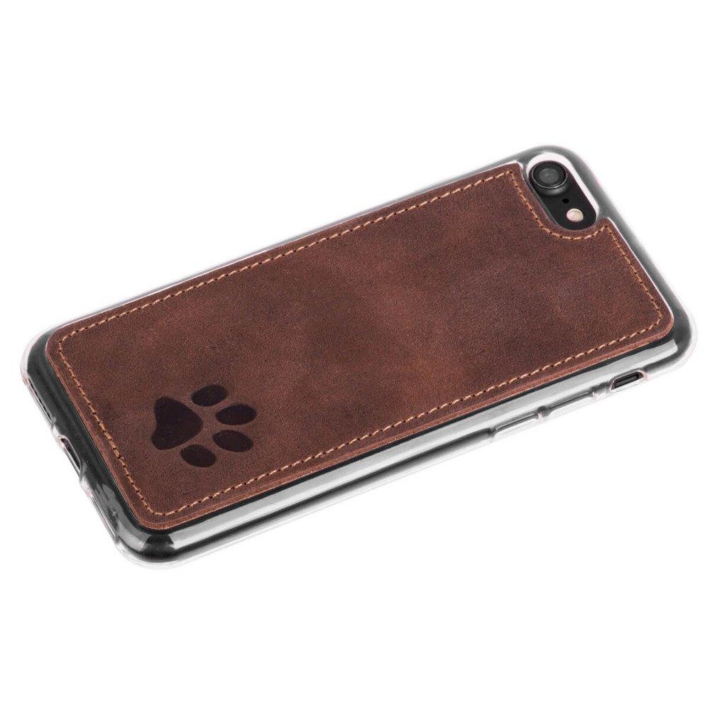 Surazo® Back case phone case Nubuck - Nut brown - Paw