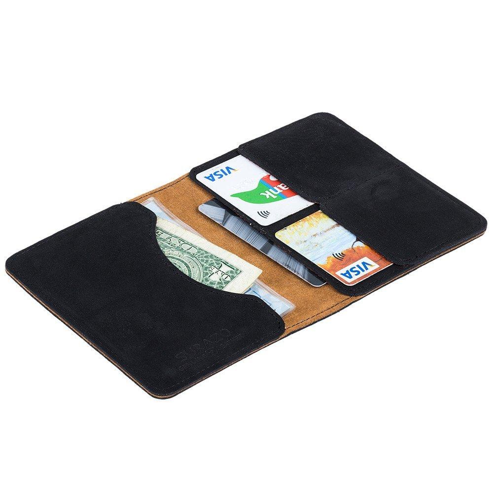 Surazo® Bifold Leather Wallet RFID Nubuck - Black