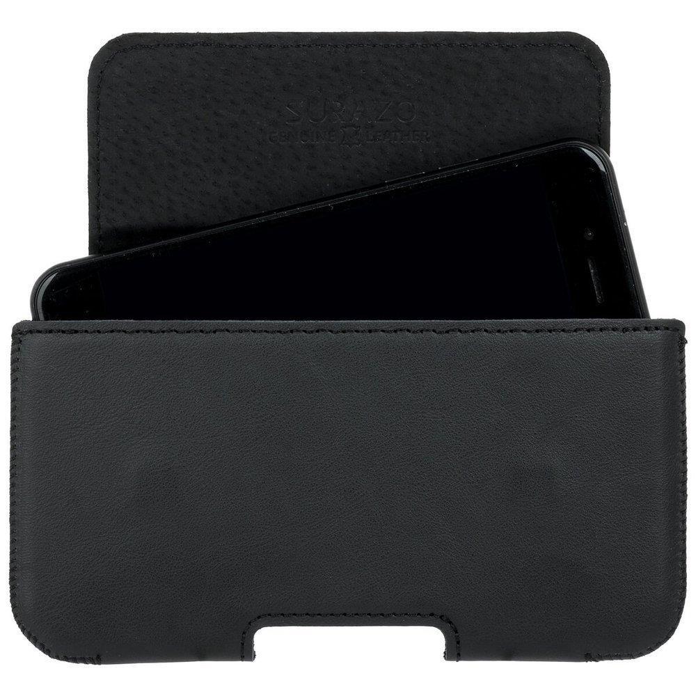 Surazo® Leather Belt Pouch case - Dakota Black - Skull