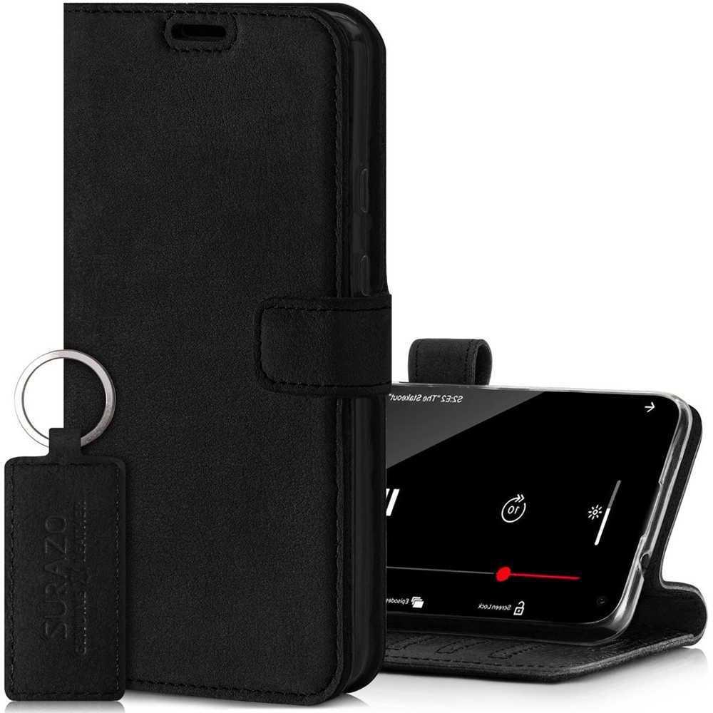 Surazo® Leather Wallet phone case Nubuck - Black