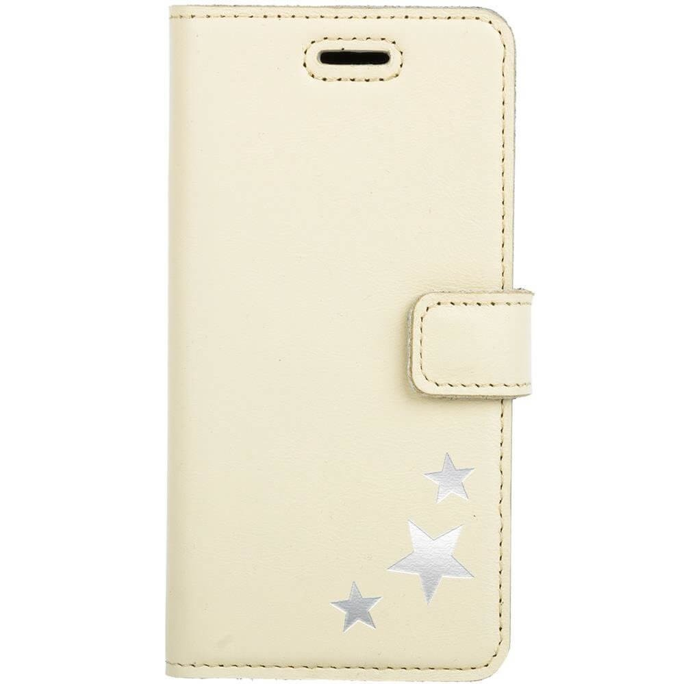Surazo® Leather Wallet phone case - Pastel Yellow - Stars