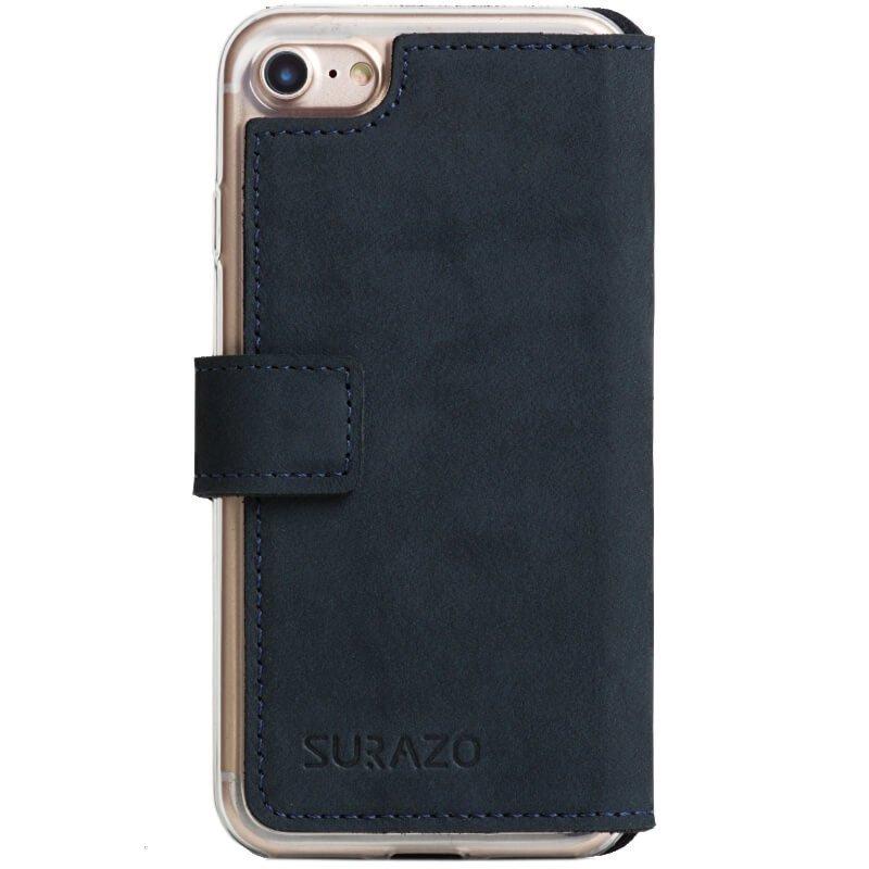 Surazo® Slim cover phone case Nubuk - Navy blue - Paw