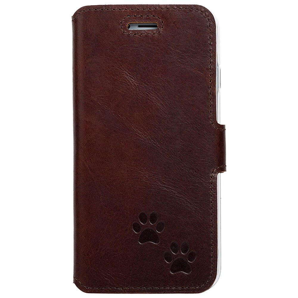 Surazo® Slim cover phone case Western - Dark brown - Two paws