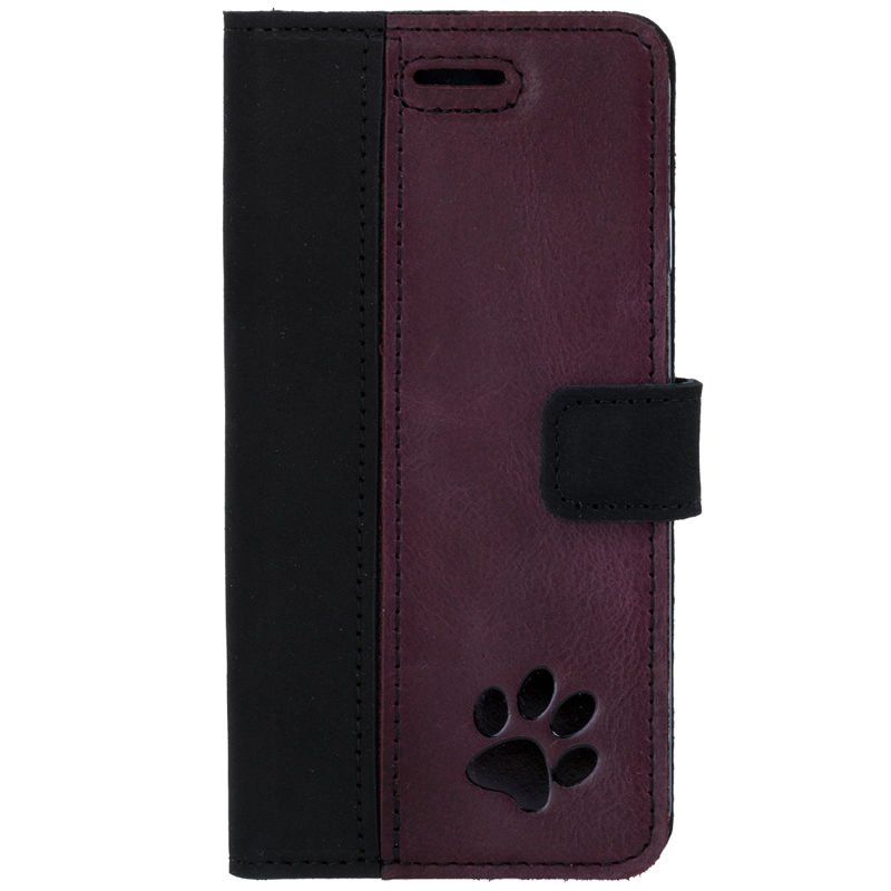 Wallet case - Nubuck Black and Burgundy - Paw