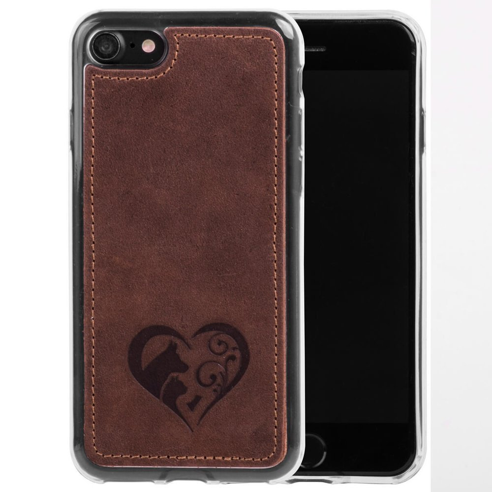 Surazo® Back case Lederhülle Nubuk - Nussbraun - Animal love