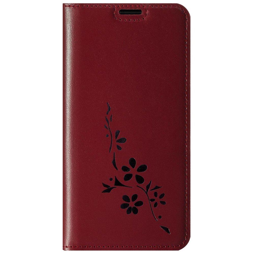 Surazo® Smart Magnet RFID Lederhülle - Costa Rot - Blumen