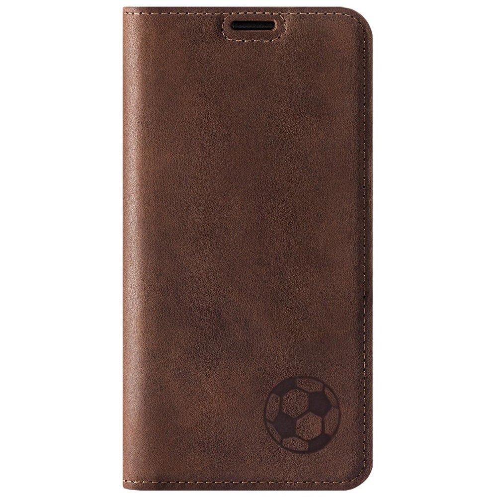 Surazo® Smart Magnet RFID Lederhülle - Nubuk Nussbraun - Fußball