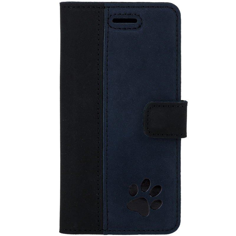Surazo® Zweifarbige Wallet Lederhülle - Schwarz und Marineblau - Pfote