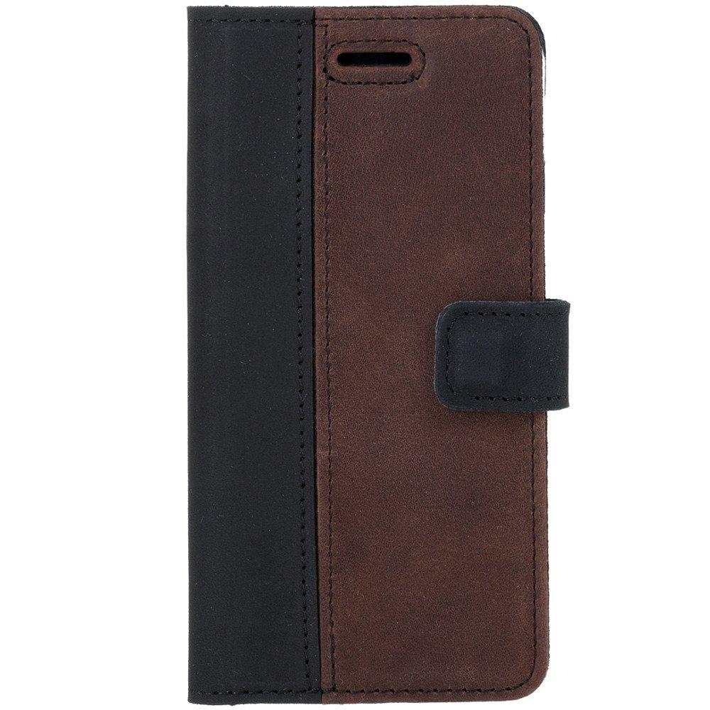 Surazo® Zweifarbige Wallet Lederhülle - Schwarz und Nussbraun