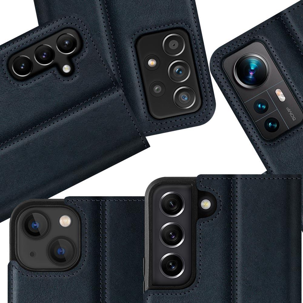 Surazo® Zweifarbige Horizontal Wallet Lederhülle - Marineblau und Nussbraun