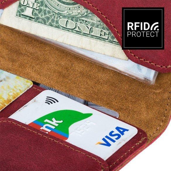 Portfel Slim RFID - Nubuk Czerwony
