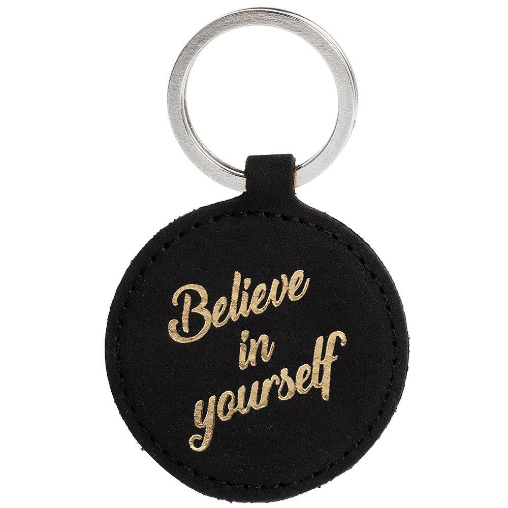 Skórzany Brelok na klucze - Nubuk Czarny - Believe in yourself