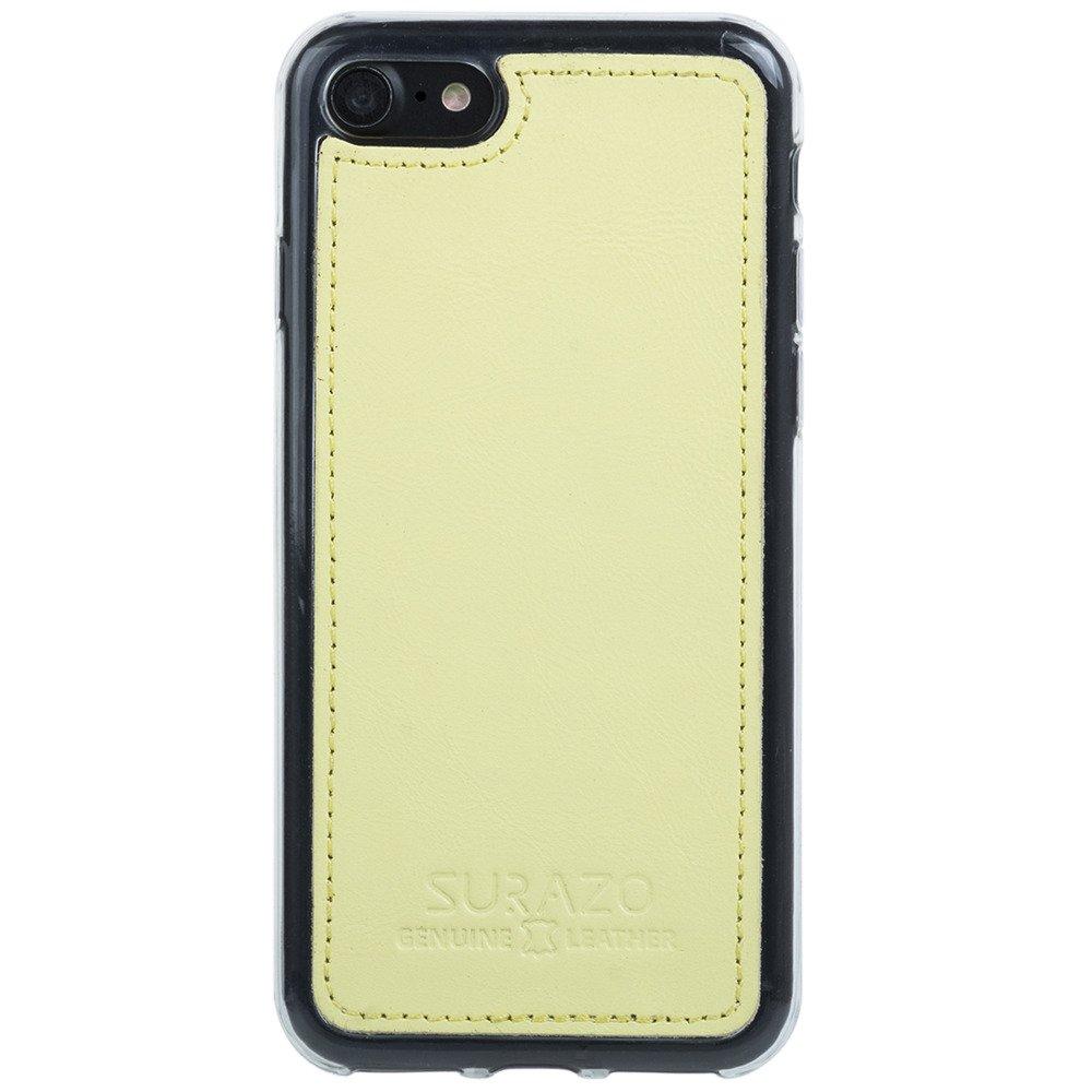 Surazo® Skórzane Etui Back case Pastel - Cytrynowy