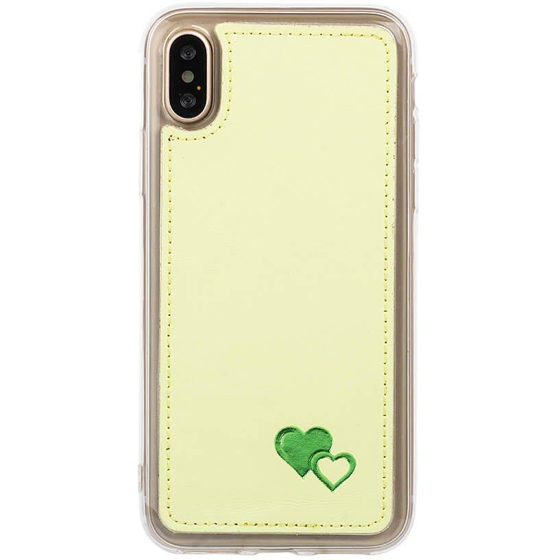 Surazo® Skórzane Etui Back case Pastel Cytrynowy - Zielone Serca