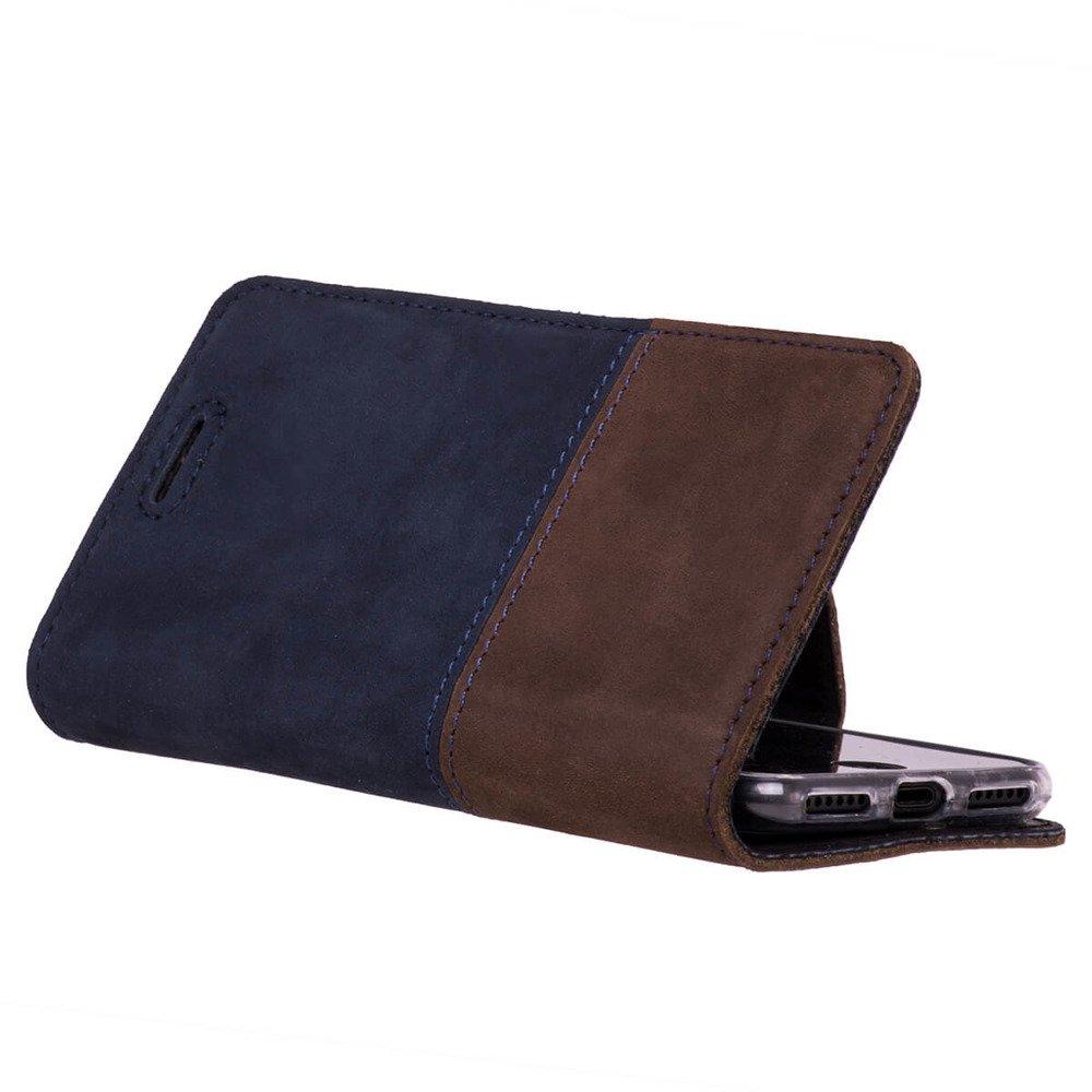 Surazo® Wallet case Duo Poziom - Granatowy i Orzechowy