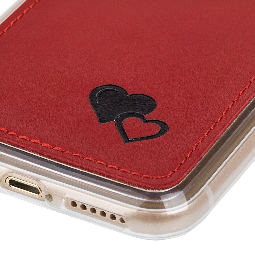 Surazo® Skórzane Etui Back case Prestige Czerwony - Czarne Serca